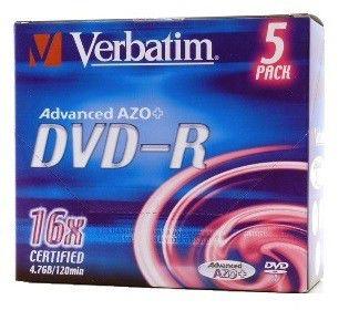 Оптический диск DVD-R VERBATIM 4.7Гб 16x, 5шт., 43519, jewel case