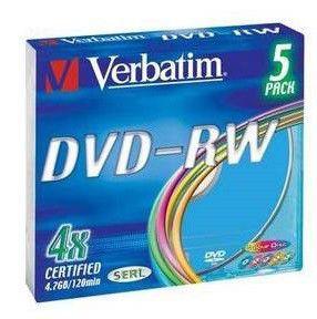 Оптический диск DVD-RW VERBATIM 4.7Гб 4x, 5шт., 43563, slim case, разноцветные