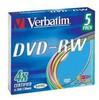 Оптический диск DVD-RW VERBATIM 4.7Гб 4x, 5шт., 43563, slim case, разноцветные вид 1