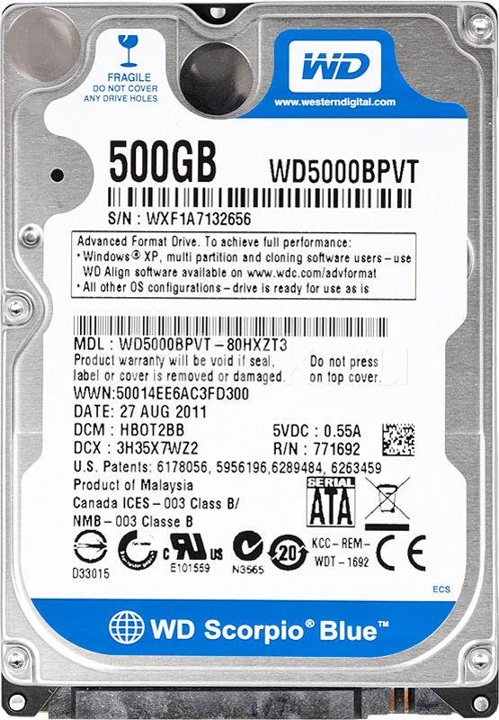 Жесткий диск WD Scorpio Blue WD5000BPVT,  500Гб,  HDD,  SATA II,  2.5