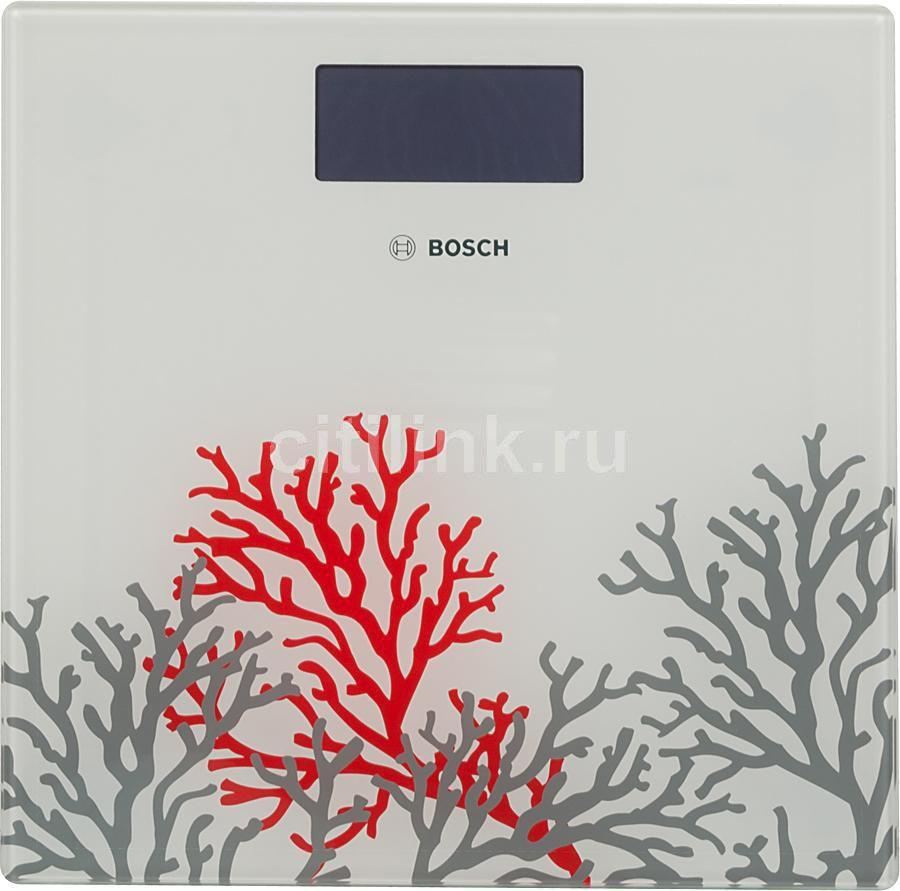 Напольные весы BOSCH PPW3301, до 180кг, цвет: белый/рисунок