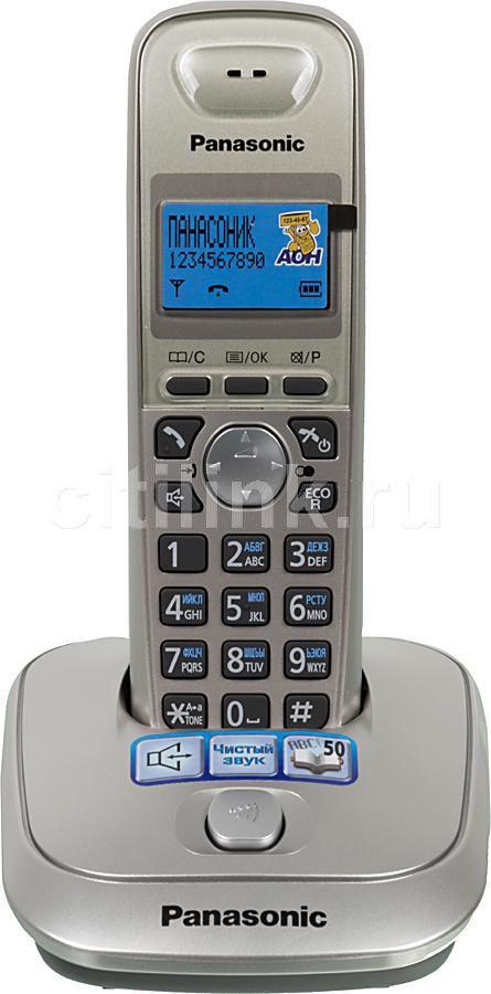 Радиотелефон PANASONIC KX-TG2511RUN,  платиновый и черный