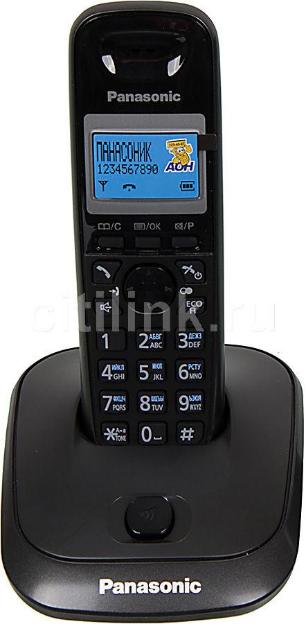 Радиотелефон PANASONIC KX-TG2511RUT,  темно-серый металлик и черный