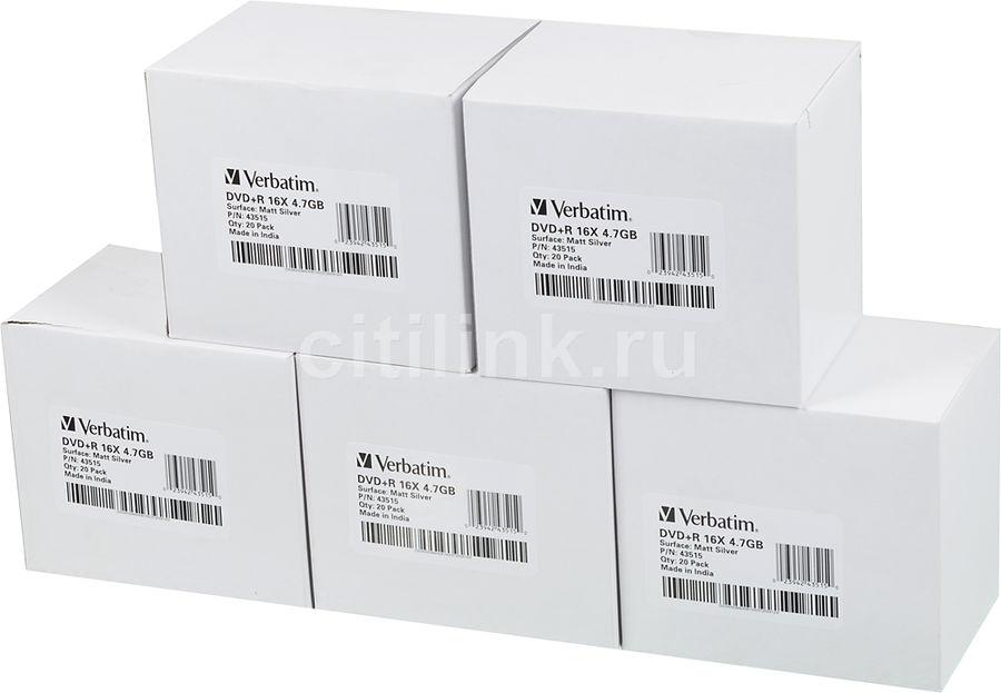 Оптический диск DVD+R VERBATIM 4.7Гб 16x, 100шт., slim case [43515]