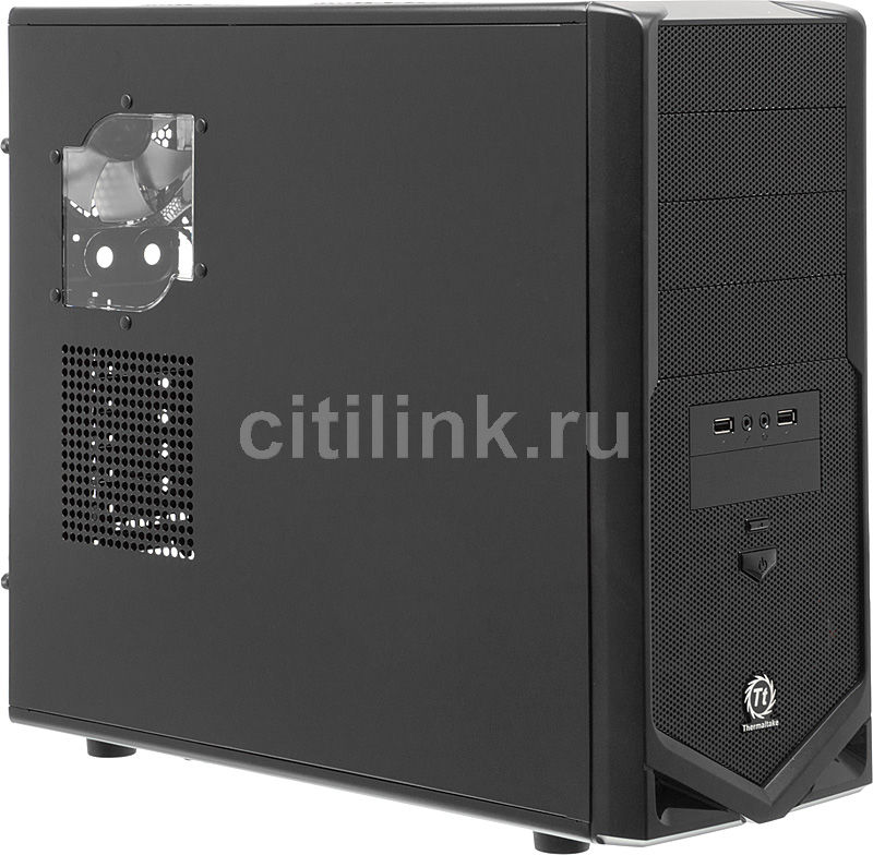 Корпус ATX THERMALTAKE V4 Black Edition VM30001W2ZA, Midi-Tower, без БП,  черный