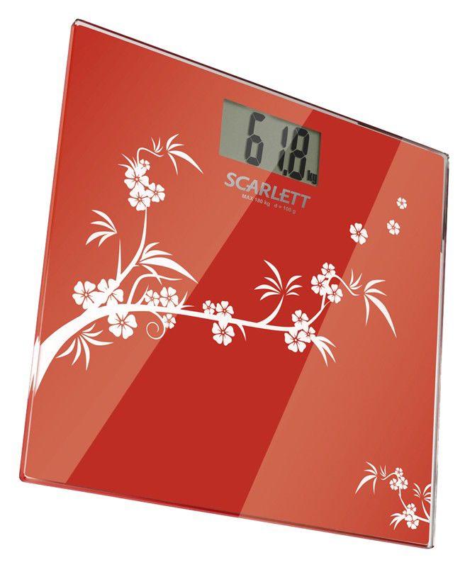 Весы SCARLETT SC218, до 180кг, цвет: красный