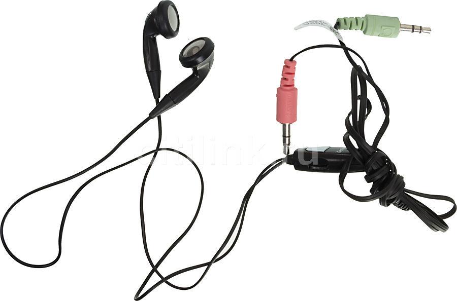 Наушники с микрофоном GENIUS HS-200A,  вкладыши, черный  [31710144100]
