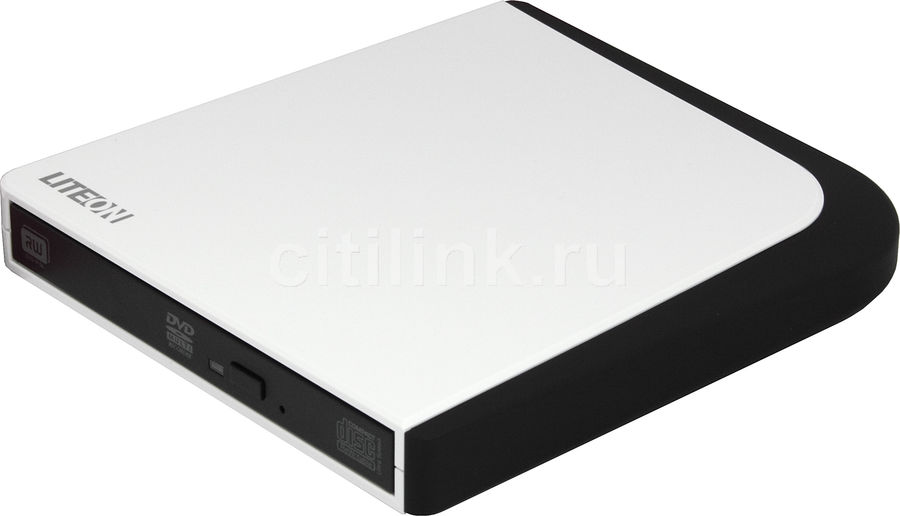 Оптический привод DVD-RW LITE-ON eSAU108-104, внешний, USB, белый + черный,  Ret