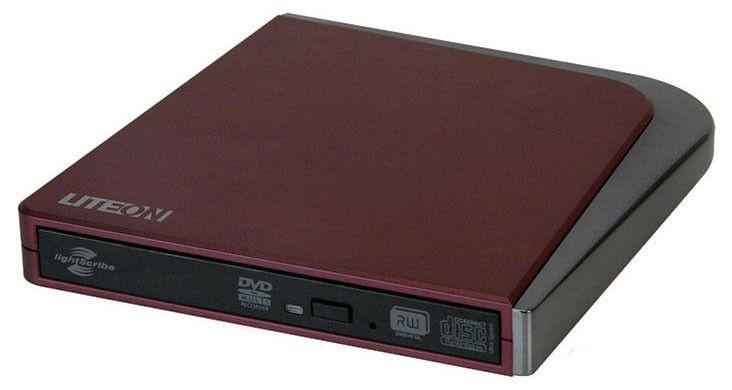 Оптический привод DVD-RW LITE-ON eSAU208-124, внешний, USB, красный,  Ret