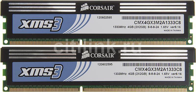 Модуль памяти CORSAIR XMS3 CMX4GX3M2A1333C8 DDR3 -  2x 2Гб 1333, DIMM,  Ret