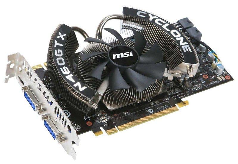 Видеокарта MSI GeForce GTX 460,  768Мб, GDDR5, OC,  Ret [n460gtx cyclone 768d5/oc]