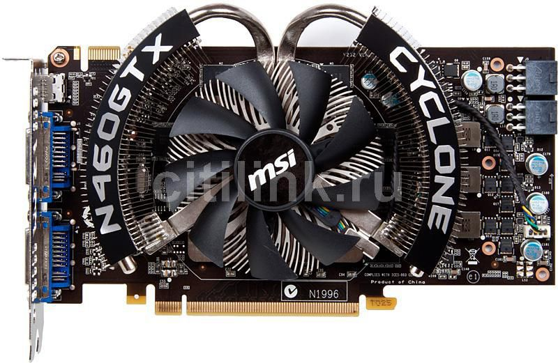 Видеокарта MSI N460GTX CYCLONE 1GD5/OC,  1Гб, GDDR5, OC,  Ret