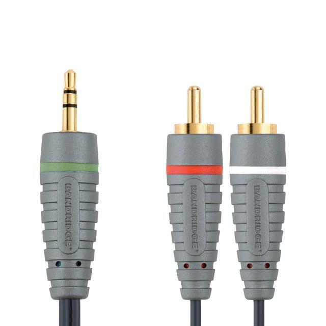 Кабель аудио BANDRIDGE BAL3402,  Jack 3.5 (m)  -  2хRCA (m) ,  2м, GOLD