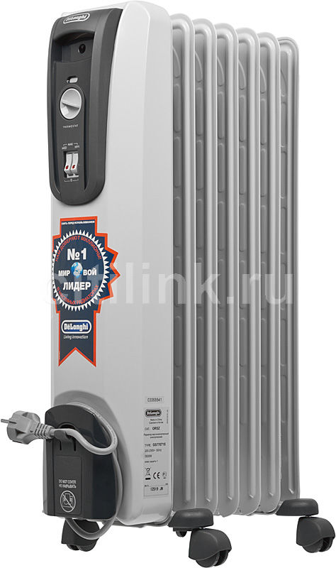 Масляный радиатор DELONGHI GS770715, 1500Вт, белый