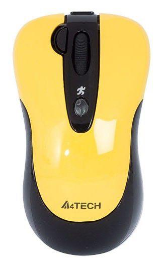 Мышь A4 K4-61X-4 оптическая проводная USB, желтый и черный