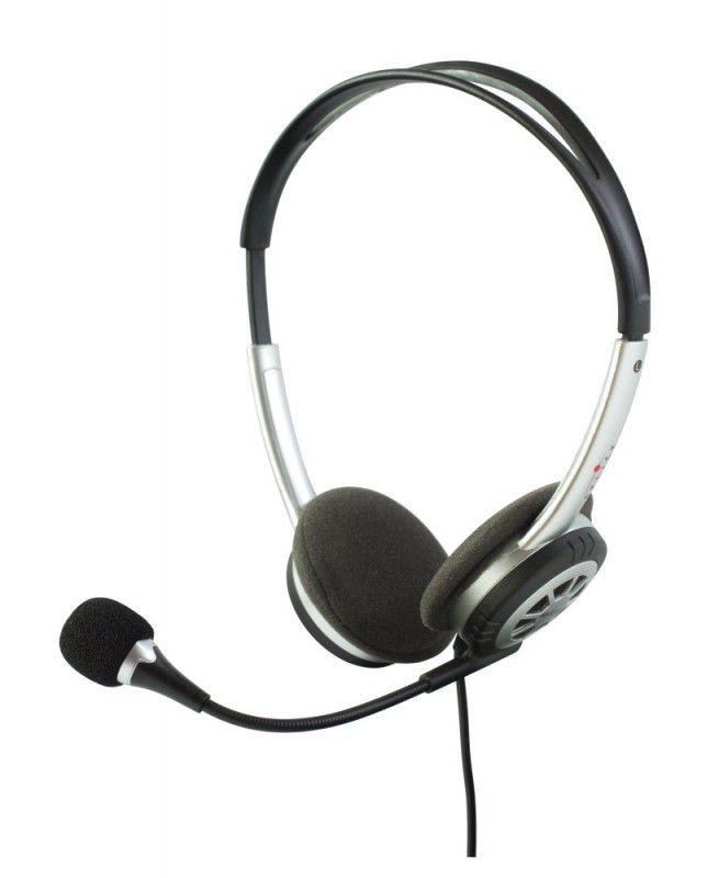 Наушники с микрофоном OKLICK HS-S110V,  накладные, серебристый  / черный