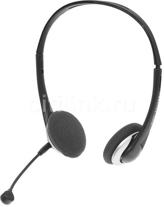 Наушники с микрофоном OKLICK HS-S113V,  накладные, серебристый  / черный