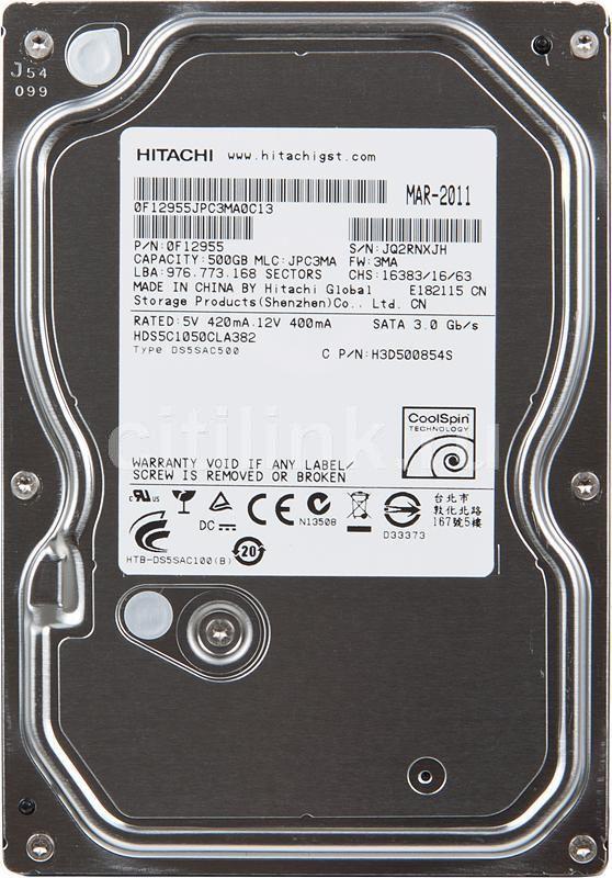 Жесткий диск HITACHI Deskstar 5K1000 HDS5C1050CLA382,  500Гб,  HDD,  SATA II,  3.5