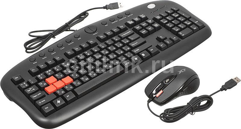 Комплект (клавиатура+мышь) A4 KX-2810, USB, проводной, черный
