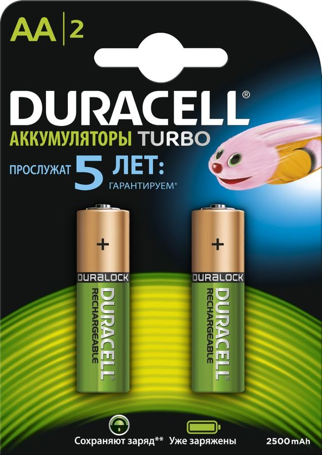 AA Аккумулятор DURACELL Rechargeable HR6-2BL,  2 шт. 2500мAч