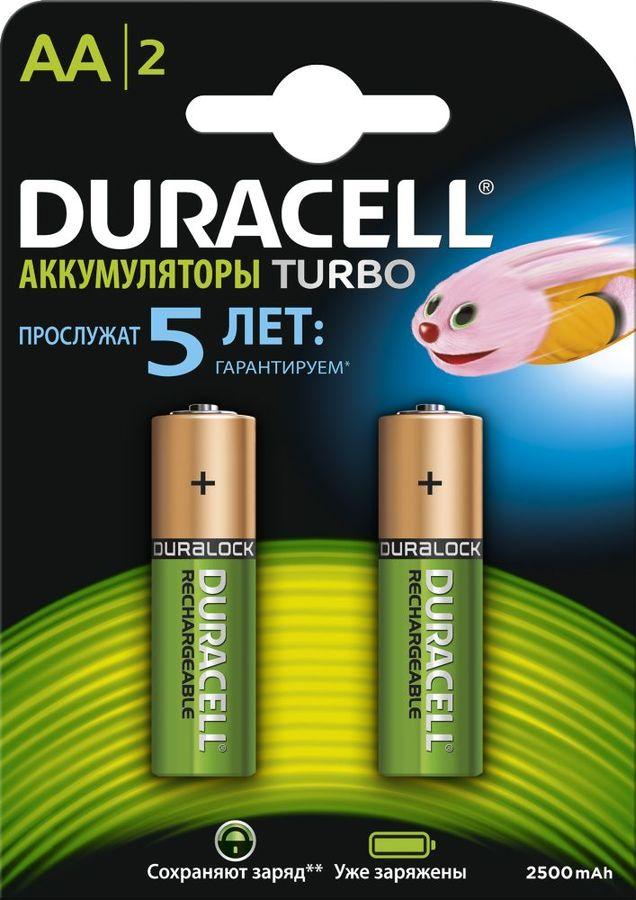 AA Аккумулятор DURACELL HR6-2BL,  2 шт. 2500мAч