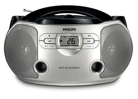 Аудиомагнитола PHILIPS AZ-1046/12,  серебристый и черный