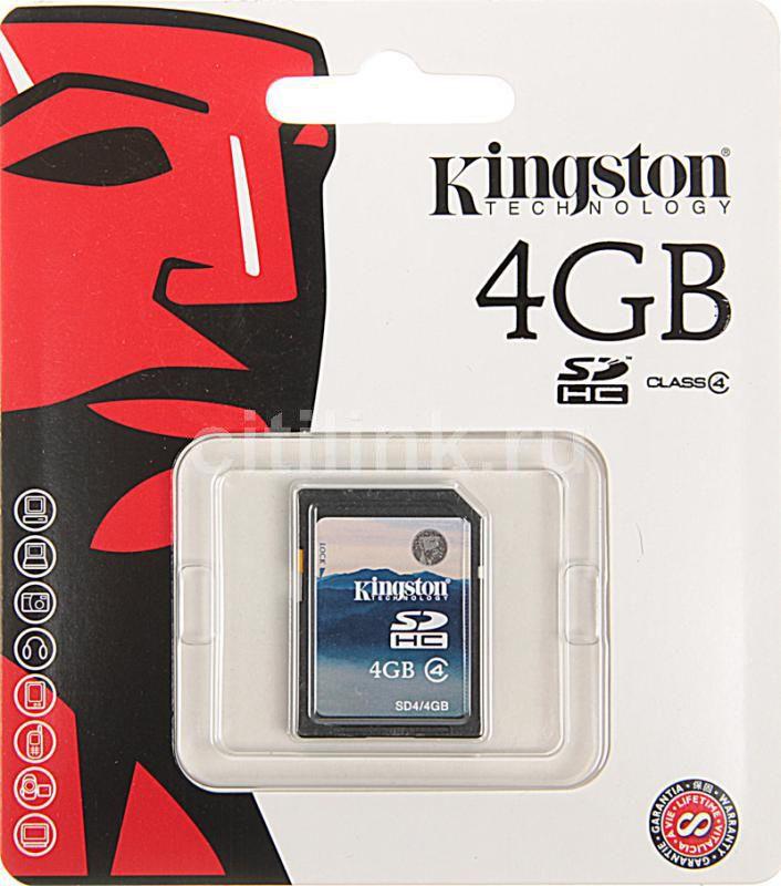 Карта памяти SDHC KINGSTON 4 ГБ, Class 4, SD4/4GBSP,  1 шт.
