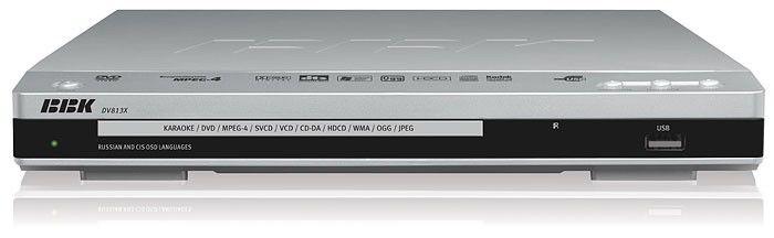 DVD-плеер BBK DV813Х,  серебристый,  диск 2000 песен