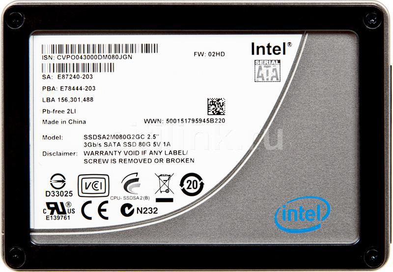 Накопитель SSD INTEL X25-M SSDSA2MH080G2K5 80Гб, 2.5