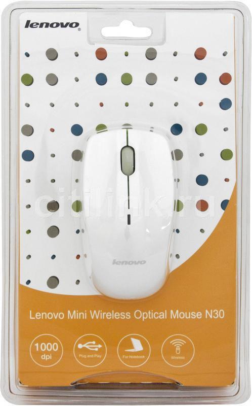 Мышь LENOVO N30A оптическая беспроводная USB, белый [888 009 888]