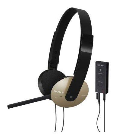 Наушники с микрофоном SONY DR-350USB,  накладные, черный  / коричневый [dr350usb.ce7]