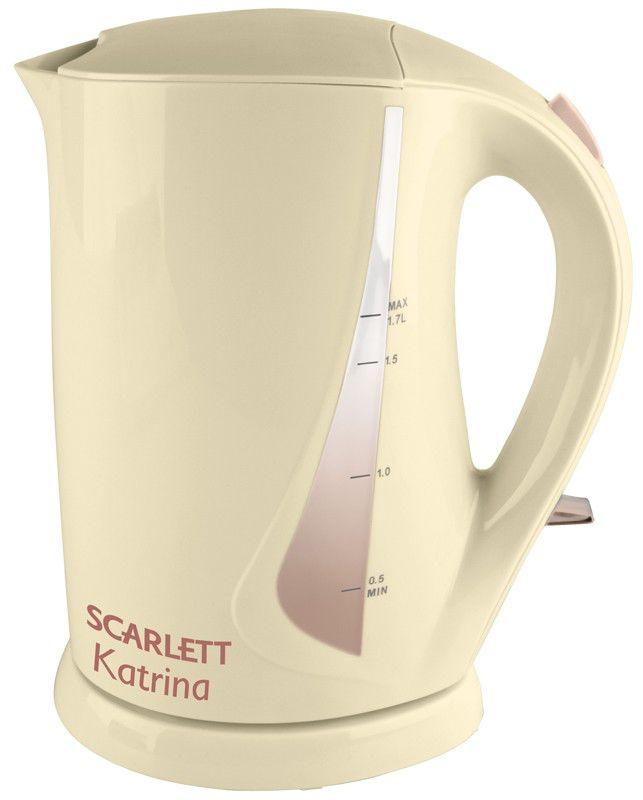 Чайник электрический SCARLETT SC-025, 2200Вт, бежевый