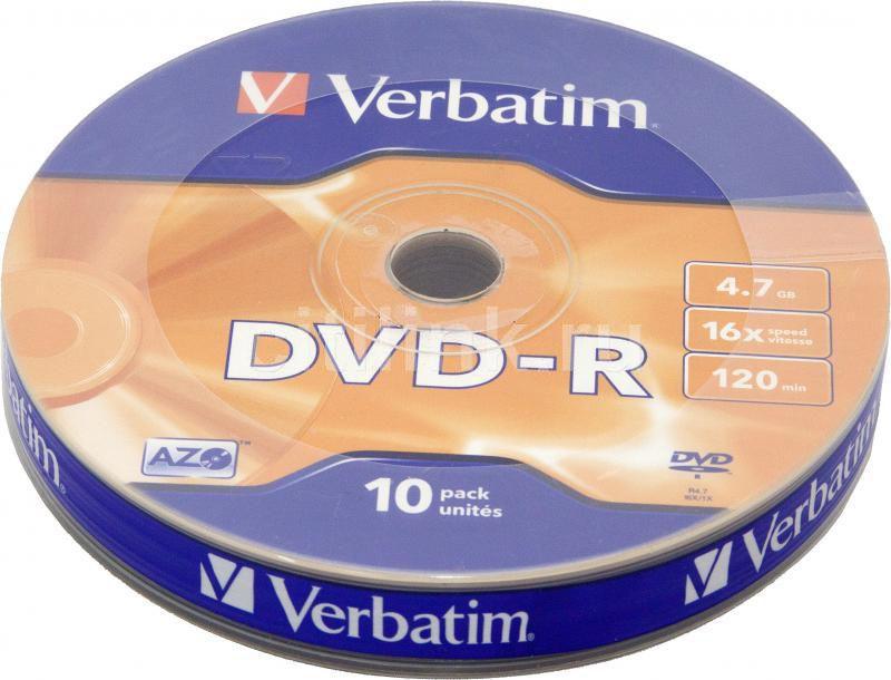 Оптический диск DVD-R VERBATIM 4.7Гб 16x, 10шт., bulk [43729]