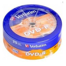 Оптический диск DVD-R VERBATIM 4.7Гб 16x, 25шт., cake box [43730] dvd r vs 4 7gb 16х 10шт cake box