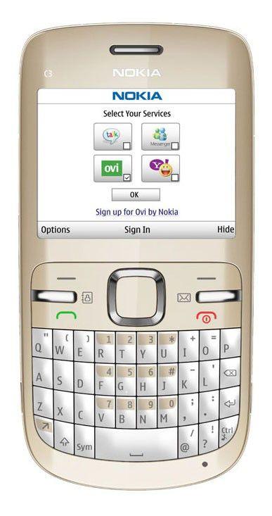 Мобильный телефон NOKIA C3-00  золотистый/белый