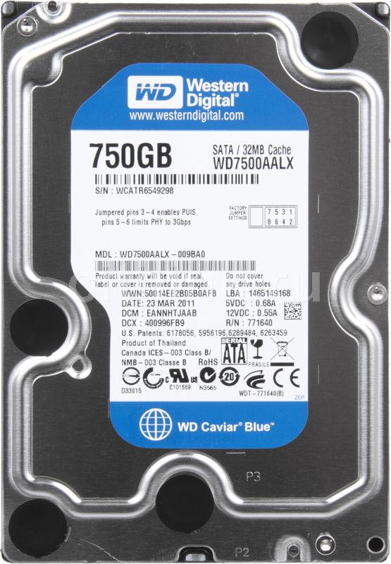 Жесткий диск WD Caviar Blue WD7500AALX,  750Гб,  HDD,  SATA III,  3.5