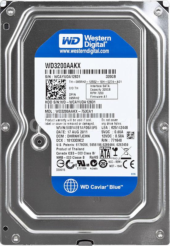 Жесткий диск WD Caviar Blue WD3200AAKX,  320Гб,  HDD,  SATA III,  3.5
