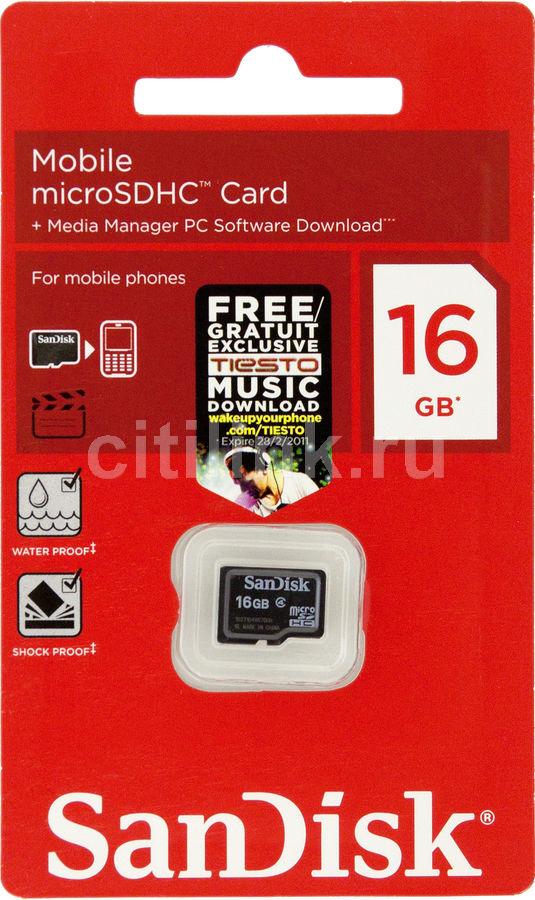 Карта памяти microSDHC SANDISK Mobile 16 ГБ, Class 4, SDSDQM-016G-B35,  1 шт.