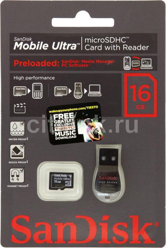 Карта памяти microSDHC SANDISK Mobile Ultra 16 ГБ, Class 4, SDSDQY-016G-U46,  1 шт.