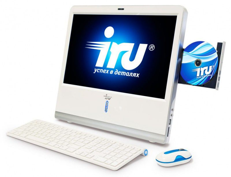Моноблок IRU AIO 103, Intel Atom 330, 2Гб, 320Гб, nVIDIA GeForce 9400, DVD-RW, Windows 7 Starter, белый