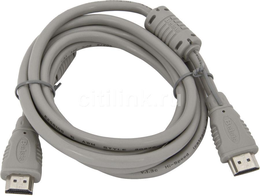 Кабель аудио-видео  BELSIS BW1456,  HDMI (m)  -  HDMI (m) ,  ver 1.3, 2м, ф/фильтр,  белый