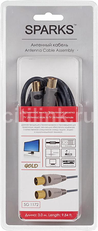 Кабель-удлинитель антенный  Sparks SG1172,  Coax (m)  -  Coax (f) ,  3м, GOLD ф/фильтр