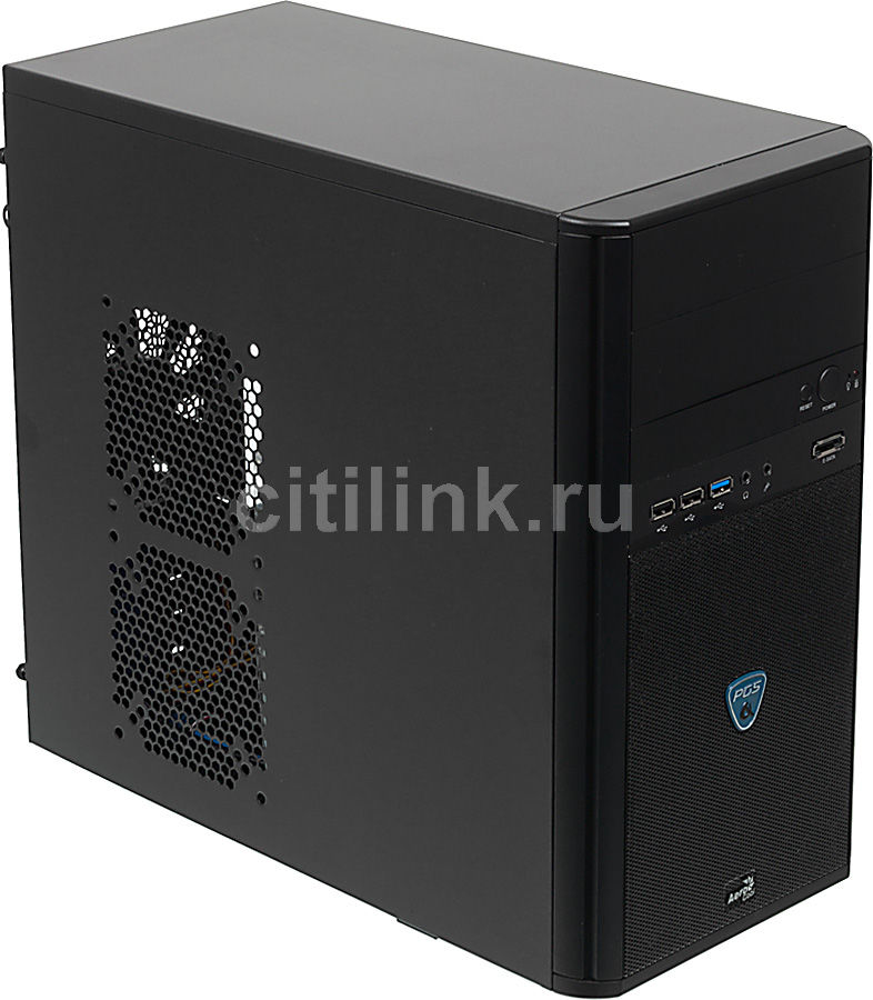 Корпус mATX AEROCOOL Qs-200 Advance, Mini-Tower, без БП,  черный