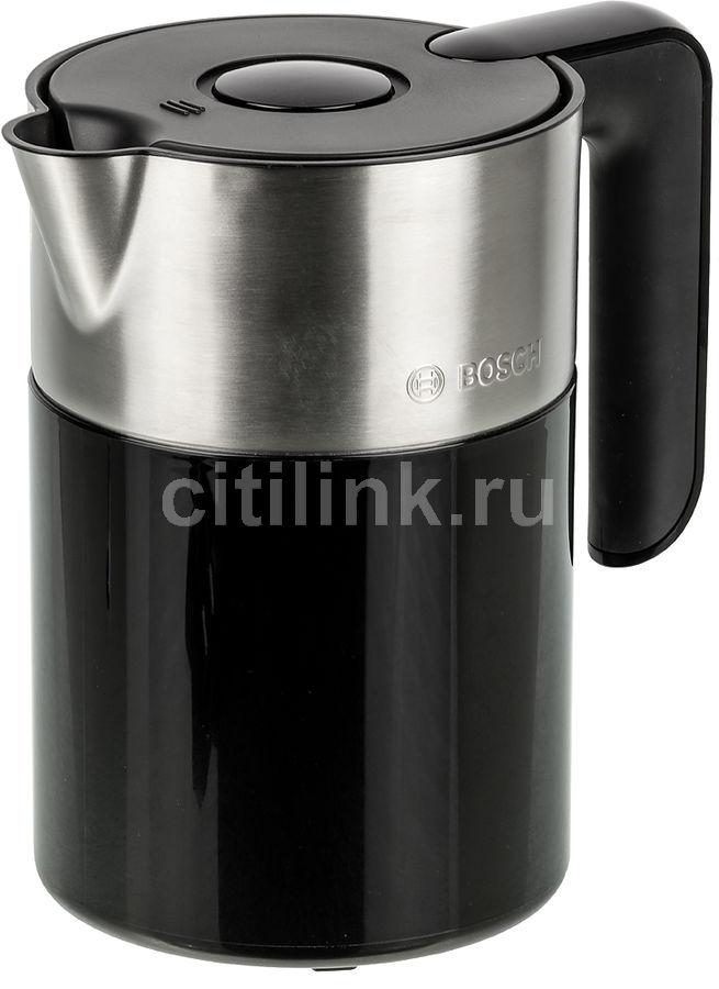 Чайник электрический BOSCH TWK8613P, 2400Вт, черный и серебристый
