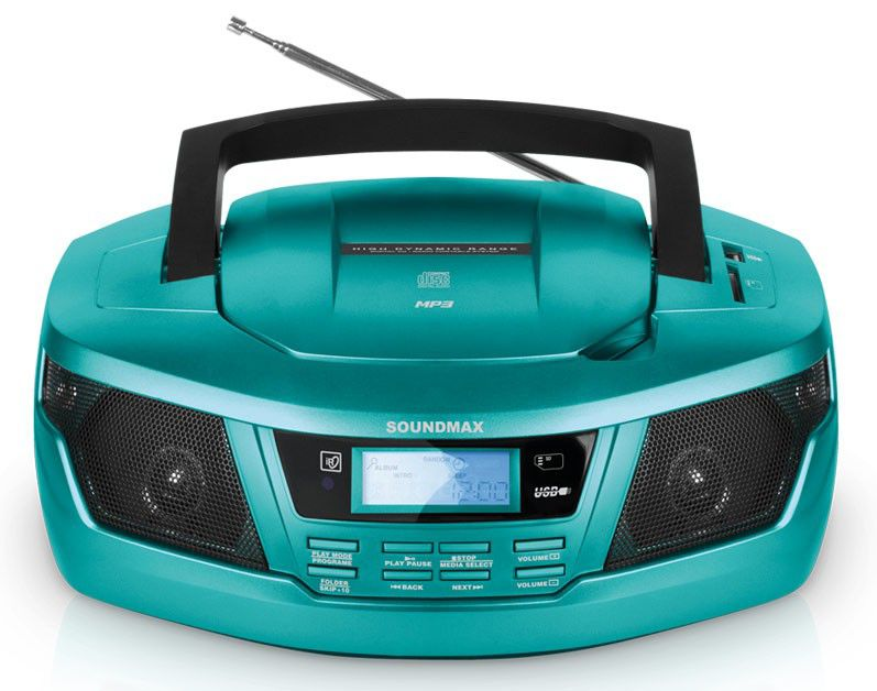 Аудиомагнитола SOUNDMAX SM-2406,  бирюзовый