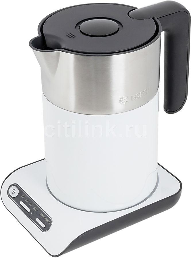 Чайник электрический BOSCH TWK8611, 2400Вт, белый и серебристый