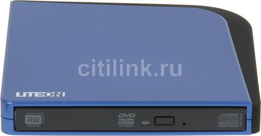 Оптический привод DVD-RW LITE-ON eSAU108-134, внешний, USB, синий,  Ret