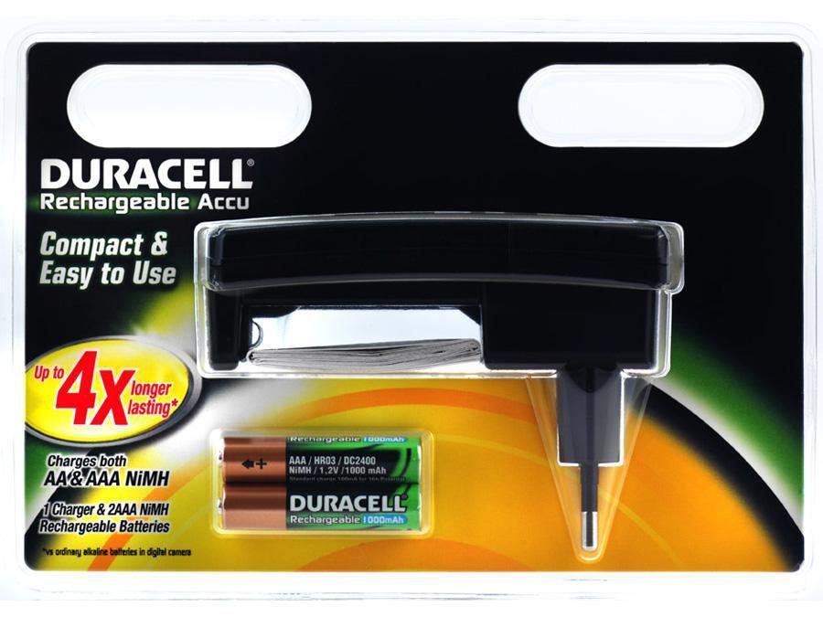 Аккумулятор + зарядное устройство DURACELL CEF24,  2 шт. AAA,  1000мAч