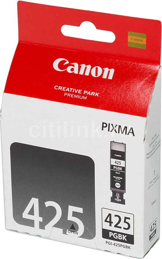 Картридж CANON PGI-425PGBK 4532B001, черный pgi 425 cli 425 refillable ink cartridges for canon pgi425 pixma ip4840 mg5140 ip4940 ix6540 mg5240 mg5340 mx714 mx884 mx894
