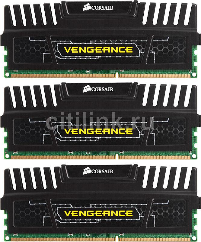 Модуль памяти CORSAIR Vengeance CMZ12GX3M3A1600C9 DDR3 -  3x 4Гб 1600, DIMM,  Ret